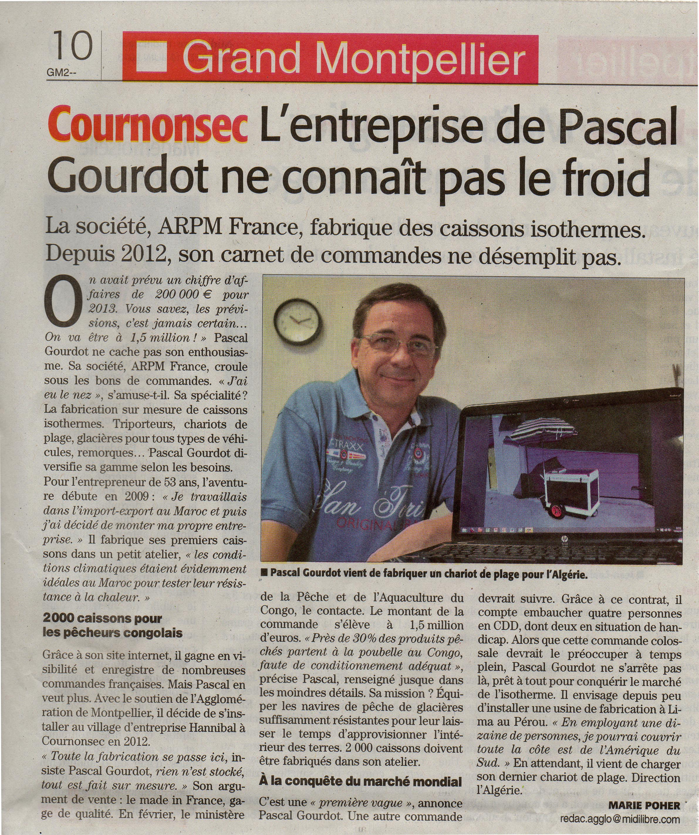 Article de presse ARPM France - Midi Libre 19 juin 2013